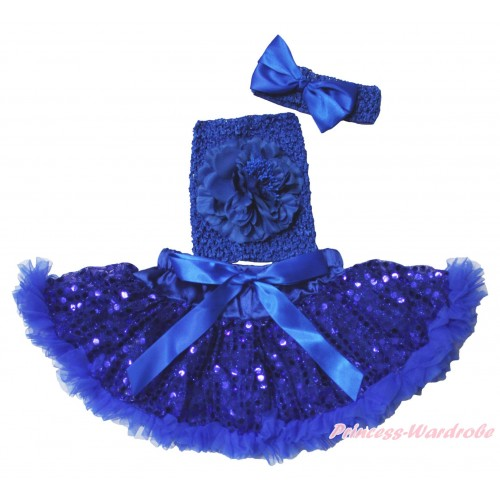Royal Blue Sparkle Bling Sequins Baby Pettiskirt, Royal Blue Peony Crochet Tube Top, Headband Satin Bow 3PC Set CT710