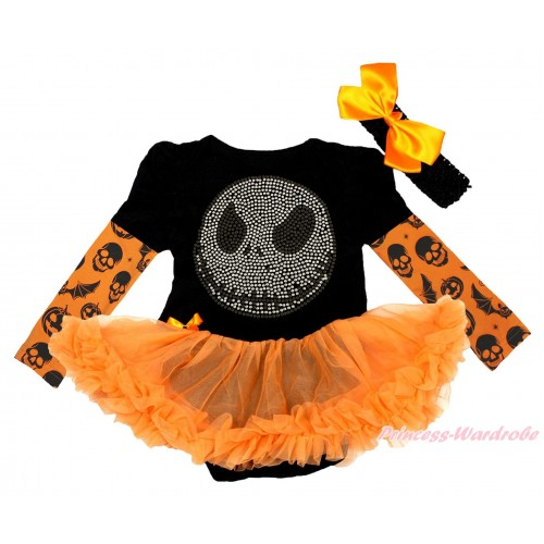 Halloween Max Style Long Sleeve Black Baby Bodysuit Orange Pettiskirt & Rhinestone Nightmare Before Christmas Jack Print JS4776