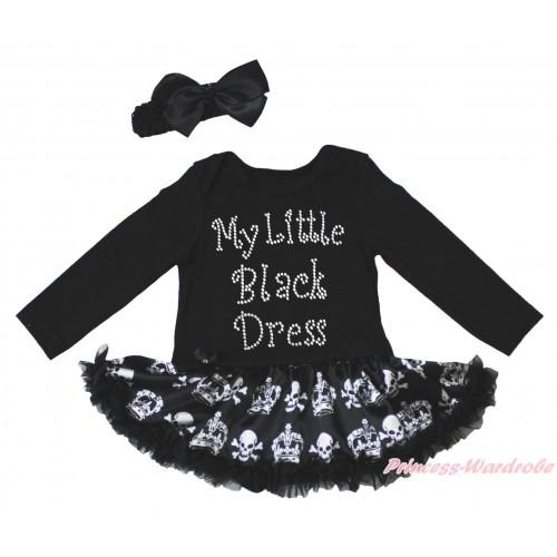Black Long Sleeve Bodysuit Black Crown Skeleton Pettiskirt & Sparkle Rhinestone My Little Black Dress Print JS4782