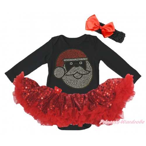 Christmas Black Long Sleeve Bodysuit Bling Red Sequins Pettiskirt & Sparkle Rhinestone Santa Claus Print JS4869