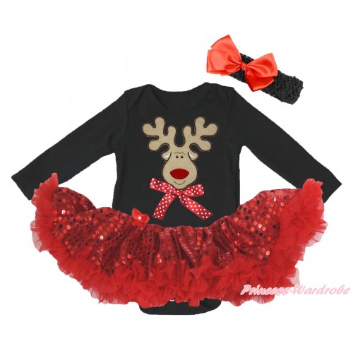 Christmas Black Long Sleeve Bodysuit Bling Red Sequins Pettiskirt & Christmas Reindeer & Minnie Dots Bow Print JS4873