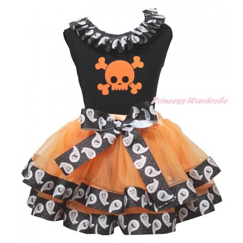 Halloween Black Tank Top White Ghost Lacing & Orange Skeleton Print & Orange White Ghost Trimmed Pettiskirt MG1871