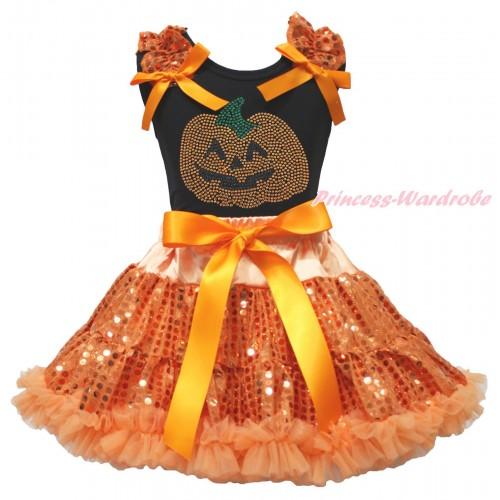 Halloween Black Tank Top Orange Sequins Ruffles Orange Bows & Rhinestone Orange Pumpkin Print & Bling Orange Sequins Pettiskirt MG1881