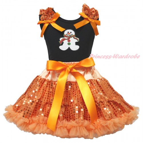 Christmas Black Tank Top Orange Sequins Ruffles Orange Bows & Christmas Gingerbread Snowman Print & Bling Orange Sequins Pettiskirt MG1903