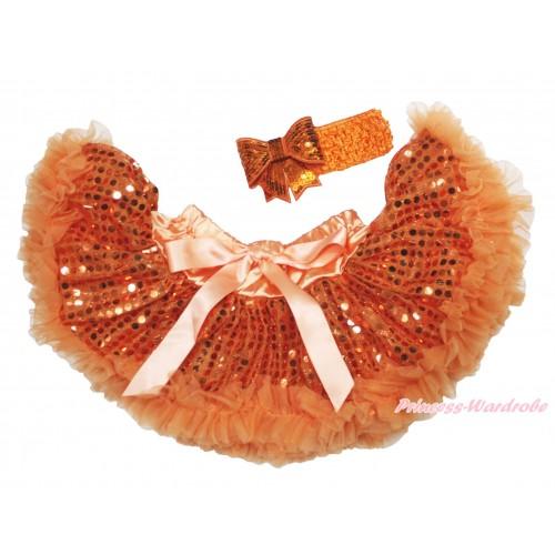 Orange Sparkle Bling Sequins New Born Pettiskirt N271
