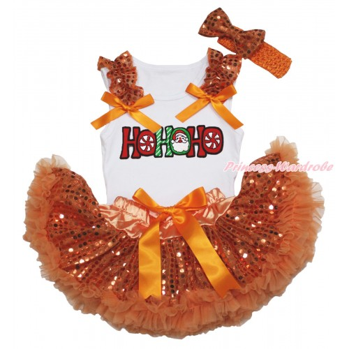 Christmas White Baby Pettitop Orange Sequins Ruffles Orange Bows & HOHOHO Santa Claus Print & Orange Bling Sequins Newborn Pettiskirt NG1872