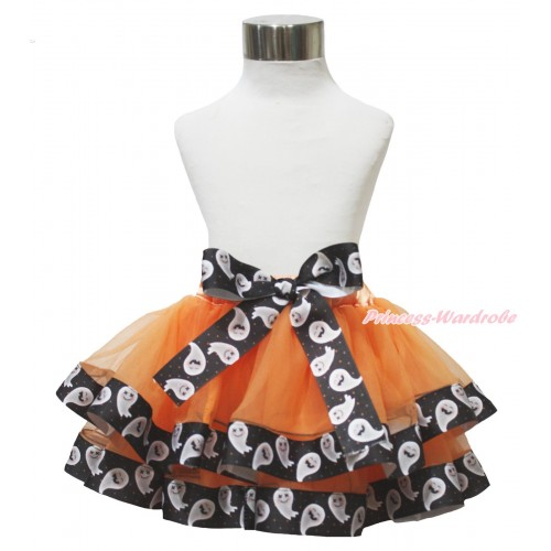 Halloween Orange White Ghost Trimmed Full Pettiskirt & Bow P228