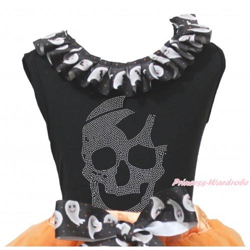 Halloween Black Tank Top White Ghost Lacing & Sparkle Rhinestone Skeleton Print TB1334