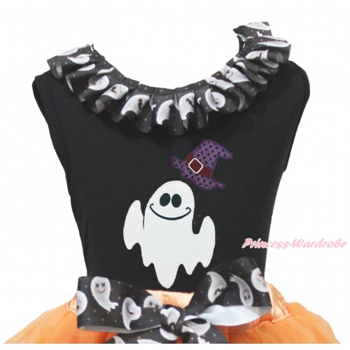 Halloween Black Tank Top White Ghost Lacing & Sparkle Hat White Ghost Print TB1336