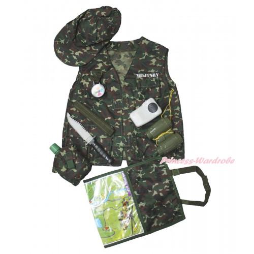 Army Commando Military Kids Costume Set C418