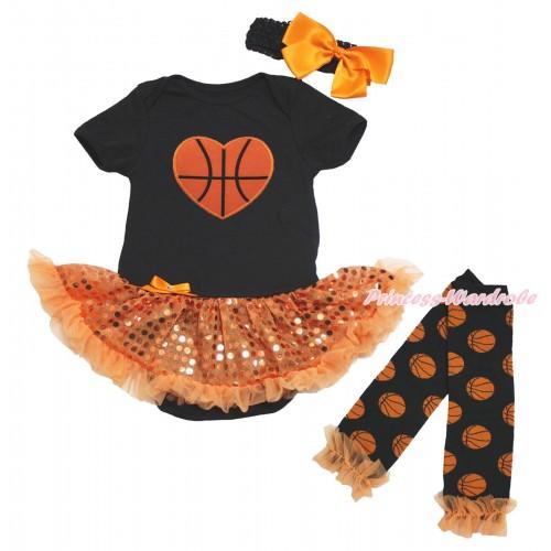 Black Bodysuit Bling Orange Sequins Pettiskirt & Basketball Heart Print & Headband & Warmers Leggings JS4818