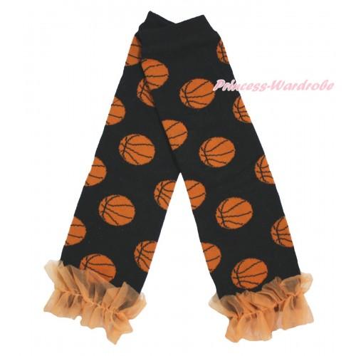 Newborn Baby Basketball Black Leg Warmers Leggings & Orange Ruffles LG300