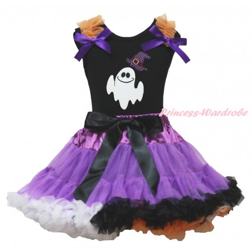 Halloween Black Tank Top Orange Ruffles Dark Purple Bows & Sparkle Hat White Ghost & Dark Purple Rainbow Pettiskirt MG1857