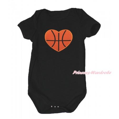 Black Baby Jumpsuit & Basketball Heart Print TH635