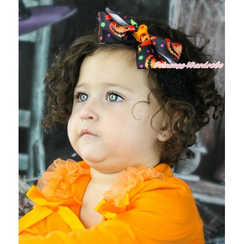 Halloween Black Rainbow Dots Pumpkin Ribbon Bow Hair Clip H1041