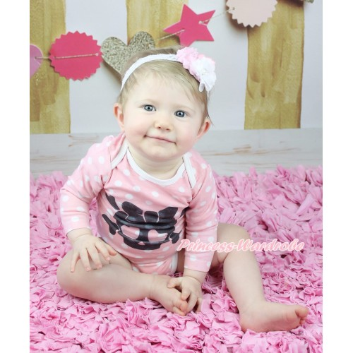 Halloween Light Pink White Dots Baby Jumpsuit & Heart Eyes Skeleton Print TH626