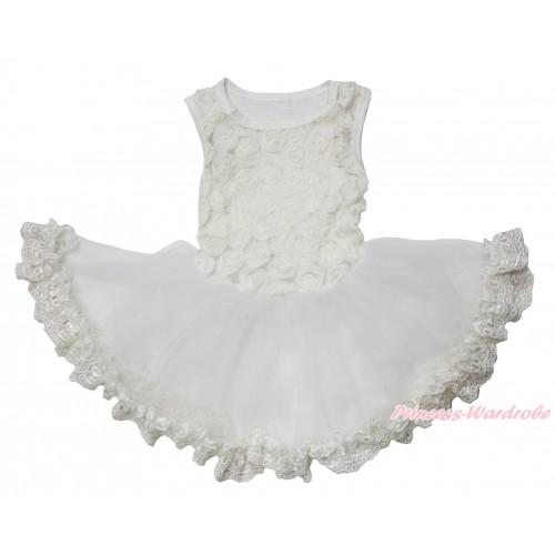 Valentine's Day Cream White Romantic Rose Sleeveless Gauze Skirt & Lace Pet Dress DC217