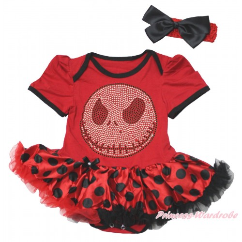 Halloween Red Baby Bodysuit Red Black Dots Pettiskirt & Sparkle Rhinestone Nightmare Before Christmas Jack Print JS4766