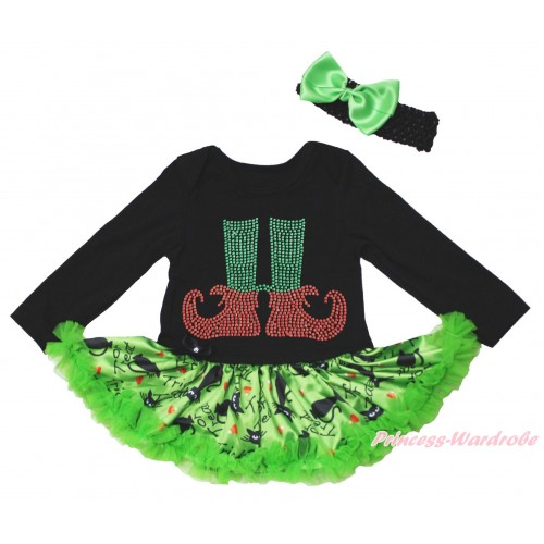 Christmas Black Long Sleeve Bodysuit Green Black Cat Pettiskirt & Sparkle Rhinestone Elf Socks Print JS4819