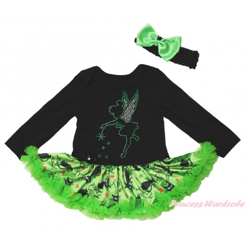 Christmas Black Long Sleeve Bodysuit Green Black Cat Pettiskirt & Sparkle Rhinestone Tinker Bell Print JS4822