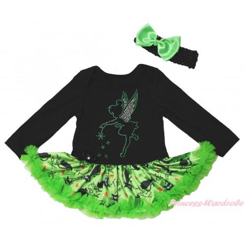 Christmas Black Long Sleeve Bodysuit Green Black Cat Pettiskirt & Sparkle Rhinestone Tinker Bell Print JS4822