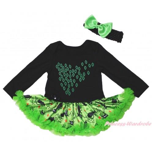 Black Long Sleeve Bodysuit Green Black Cat Pettiskirt & Sparkle Rhinestone Leaf Print JS4824