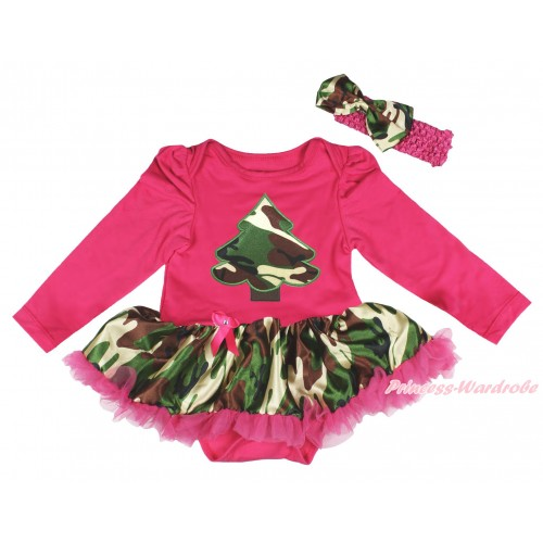 Christmas Hot Pink Long Sleeve Bodysuit Camouflage Pettiskirt & Camouflage Christmas Tree Print JS4830