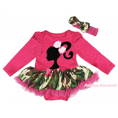 Hot Pink Long Sleeve Bodysuit Camouflage Pettiskirt & Light Hot Pink Ribbin Bow Barbie Princess Print JS4831