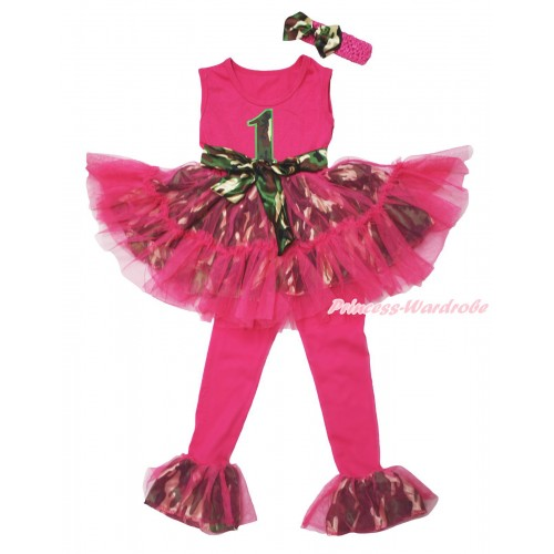 Hot Pink Camouflage Tutu Ruffles Tank Top & 1st Camouflage Birthday Number Print & Pant Set & Hot Pink Headband Camouflage Satin Bow P058