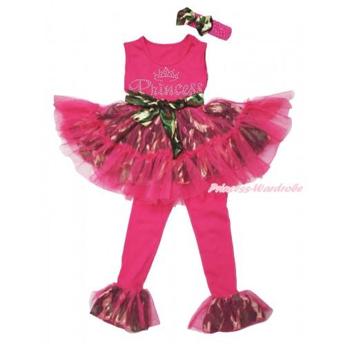 Hot Pink Camouflage Tutu Ruffles Tank Top & Sparkle Rhinestone Princess Print & Pant Set & Hot Pink Headband Camouflage Satin Bow P059