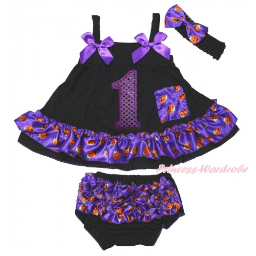 Halloween Black Purple Pumpkin Swing Top Dark Purple Bow & 1st Sparkle Purple Birthday Number matching Panties Bloomers SP33