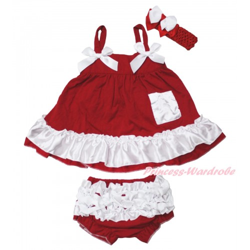 Hot Red White Swing Top White Bow matching Panties Bloomers SP34