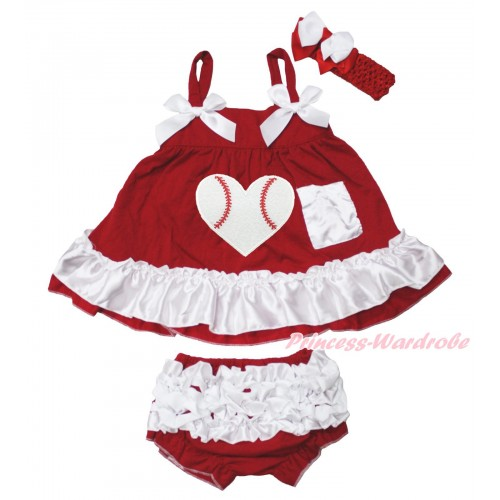 Hot Red White Swing Top White Bow & Baseball Heart matching Panties Bloomers SP35