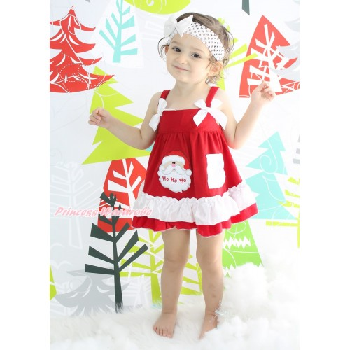 Christmas Hot Red White Swing Top White Bow & Santa Claus matching Panties Bloomers SP36