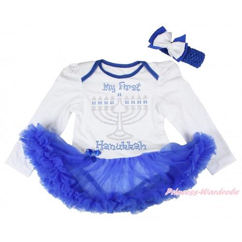 White Long Sleeve Bodysuit Royal Blue Pettiskirt & Sparkle Rhinestone Hanukkah Print JS4789
