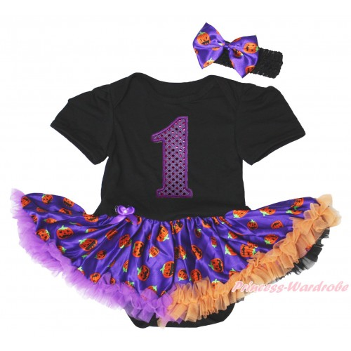 Black Baby Bodysuit Purple Pumpkin Pettiskirt & 1st Sparkle Dark Purple Birthday Number Print JS4808