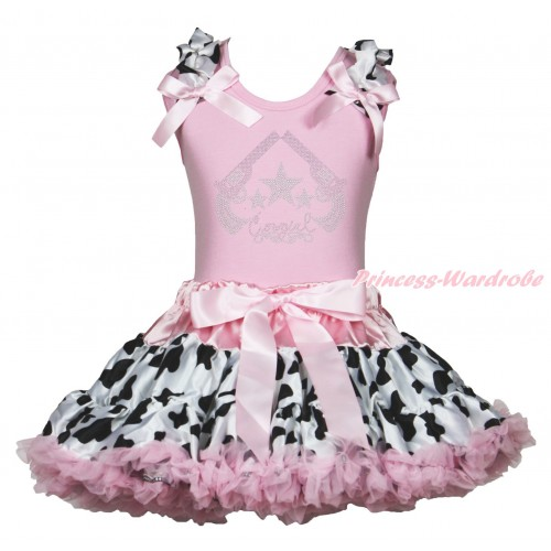Light Pink Tank Top Milk Cow Ruffles Light Pink Bow & Rhinestone Cowgirl Print & Milk Cow Light Pink Pettiskirt MG1884