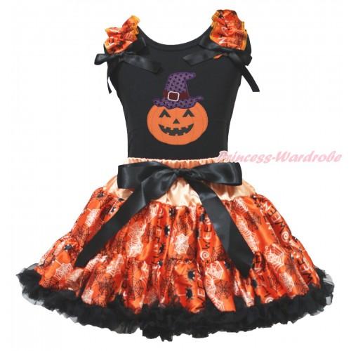Halloween Black Tank Top Spider Web Ruffles Black Bows & Sparkle Hat Pumpkin Print & Orange Black Spider Web Pettiskirt MG1891