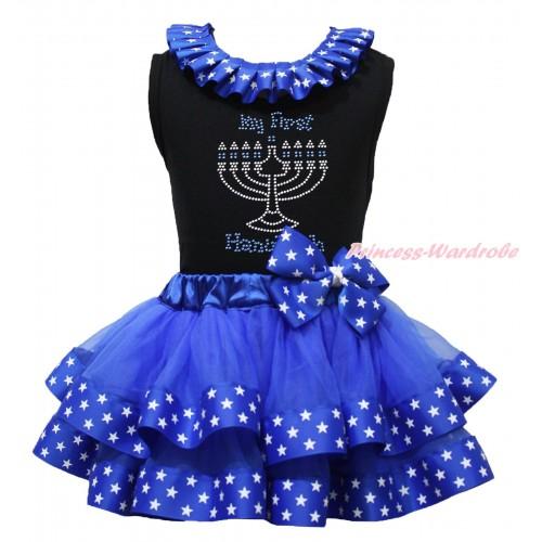 Black Baby Pettitop Patriotic American Star Lacing & Rhinestone My First Hanukkah Print & Royal Blue American Star Trimmed Newborn Pettiskirt NG1856