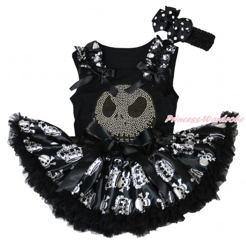 Halloween Black Baby Pettitop Crown Skeleton Ruffles Black Bows & Rhinestone Nightmare Before Christmas Jack Print & Black Crown Skeleton Newborn Pettiskirt NG1862