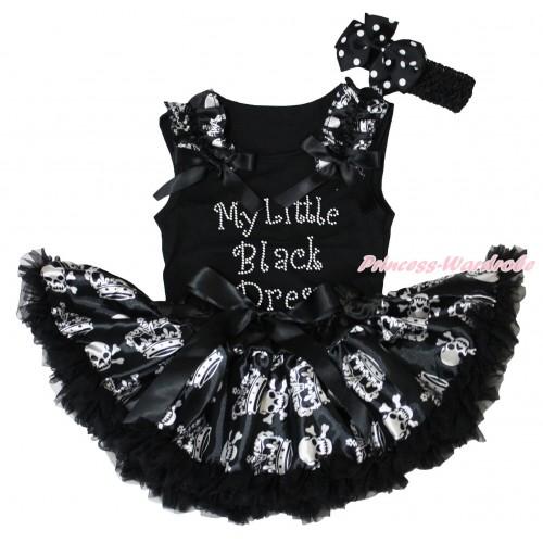 Black Baby Pettitop Crown Skeleton Ruffles Black Bows & Rhinestone My Little Black Dress Print & Black Crown Skeleton Newborn Pettiskirt NG1863