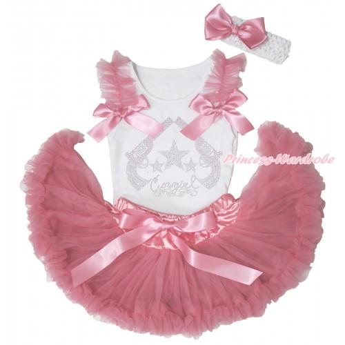 White Baby Pettitop Dusty Pink Ruffles & Bows & Rhinestone Cowgirl Print & Dusty Pink Newborn Pettiskirt NG1867