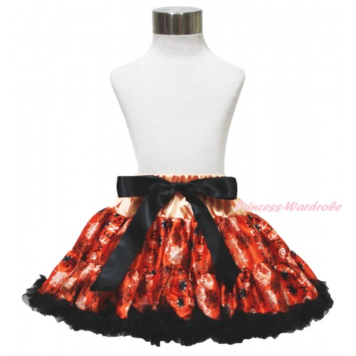 Halloween Orange Black Spider Web Full Pettiskirt P229