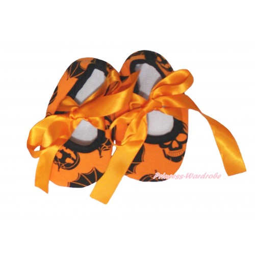Halloween Orange Pumpkin Bat Skeleton & Orange Ribbon Crib Shoes S655