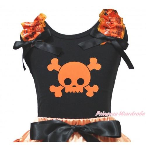 Halloween Black Tank Top Spider Web Ruffles Black Bow & Orange Skeleton Print TB1342