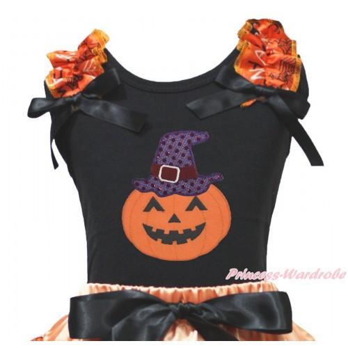 Halloween Black Tank Top Spider Web Ruffles Black Bow & Sparkle Hat Pumpkin Print TB1343