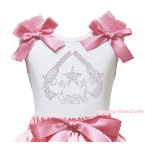 White Tank Top Dusty Pink Ruffles & Bow & Sparkle Rhinestone Cowgirl Print TB1345