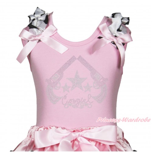 Light Pink Tank Top Milk Cow Ruffles Light Pink Bow & Sparkle Rhinestone Cowgirl Print TB1346