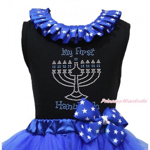 Black Tank Top American Star Lacing & Sparkle Rhinestone My First Hanukkah Print TB1347
