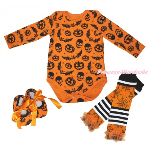 Halloween Plain Style Pumpkin Bat Skeleton  Baby Jumpsuit & Shoes & Warmer TH629